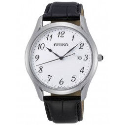 Seiko Mens Classic Stainless Steel White Dial Black Leather Strap Watch SUR303P1