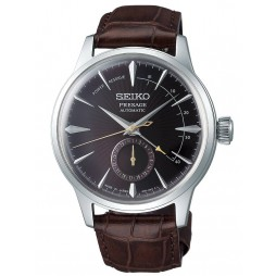 Seiko Mens Presage Automatic Stainless Steel Brown Date Dial Leather Strap Watch SSA393J1