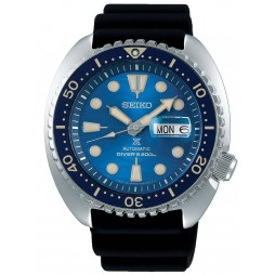 Seiko Mens Prospex Automatic King Turtle Save The Ocean Black Rubber Strap Watch SRPE07K1