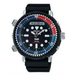 Seiko Mens Prospex Solar Arnie PADI Diver Black Dial Rubber Strap Watch SNJ027P1