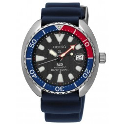 Seiko Mens Prospex Automatic Baby Turtle PADI Diver Black Dial Blue Rubber Strap Watch SRPC41K1