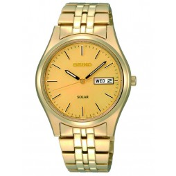 Seiko Mens Discover More Solar Gold Plated Bracelet Watch SNE036P1