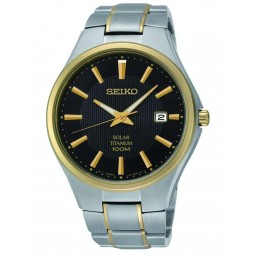 Seiko Mens Discover More Solar Titanium Two Tone Bracelet Watch SNE382P9(WB)