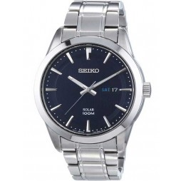 Seiko Men's Blue Solar Powered Steel Watch SNE361P1