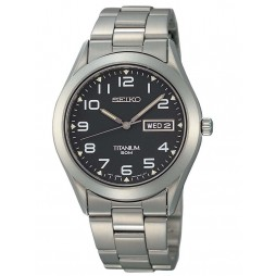 Seiko Mens Titanium Black Watch SGG711P9