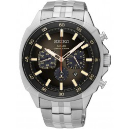Seiko Mens Stainless Steel Solar Powered Chronograph Watch SSC511P9