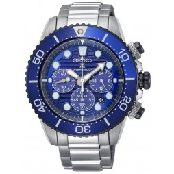 Seiko Mens Prospex Save The Ocean Solar Chronograph Blue Bracelet Watch SSC675P1