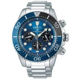 Seiko Mens Prospex Solar Special Edition Save The Ocean Blue Chronograph Dial Stainless Steel Bracelet Watch SSC741P1