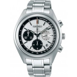 Seiko Mens Prospex Automatic Limited Edition 50th Anniversay White Chronograph Dial Stainless Steel Bracelet Watch SRQ029J1