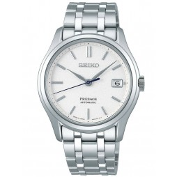 Seiko Mens Presage Automatic Japanese Garden White Dial Stainless Steel Bracelet Watch SRPD97J1