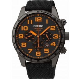 Seiko Mens Discover More Solar Chronograph Black Fabric Strap Watch SSC233P9