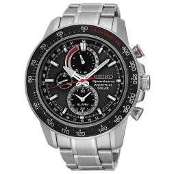 Seiko Mens Discover More Sportura Solar Chronograph Black Bracelet Watch SSC357P1