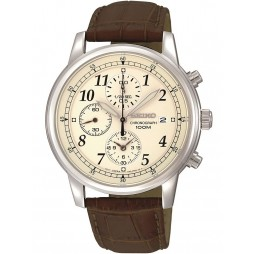 Seiko Mens Discover More Chronograph Brown Leather Strap Watch SNDC31P1