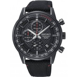 Seiko Mens Discover More Chronograph Black Fabric Strap Watch SSB315P1