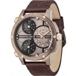 Police Mens Rattlesnake Brown Strap Watch 14699JSBN/12