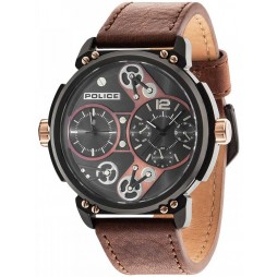 Police Mens Black Brown Leather Strap Watch 14693JSB/12A