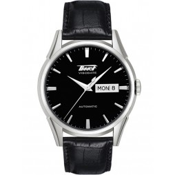 Tissot Mens Heritage Visodate Automatic Black Dial Black Leather Strap Watch T019.430.16.051.01