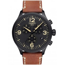 Tissot Mens T-Sport Chrono XL Brown Leather Strap Watch T116.617.36.057.00