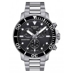 Tissot Mens T-Sport Seastar 1000 Chronograph Black Dial Stainless Steel Bracelet Watch T120.417.11.051.00