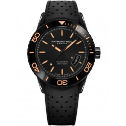 Raymond Weil Mens Freelancer Automatic Rubber Strap Watch 2760-SB2-020001