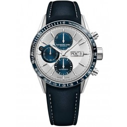 Raymond Weil Mens Freelancer Blue Leather Strap Watch 7731-SC3-65521