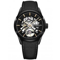Raymond Weil Mens Freelancer Black Skeleton Leather Strap Watch 2785-BC5-20001