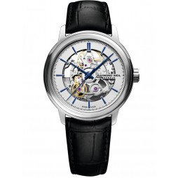 Raymond Weil Mens Maestro Skeleton Leather Strap Watch 2215-STC-65001