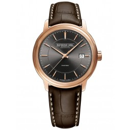 Raymond Weil Mens Maestro Automatic Brown Leather Strap Watch 2237-PC5-60011