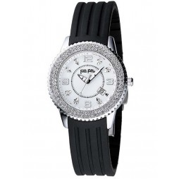 Folli Follie Ladies Black Strap Watch 6015.1045
