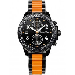Thomas Sabo Ladies Black Orange Chronograph Bracelet Watch WA0130-240-203-38 MM