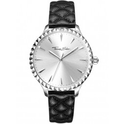 Thomas Sabo Ladies Rebel Black Leather Watch WA0320-203-201-38MM