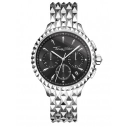 Thomas Sabo Ladies Rebel At Heart Black Dial Chronograph Bracelet Watch WA0346-201-203-38MM