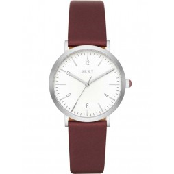 DKNY Ladies Minetta Burgundy Leather Strap Watch NY2508