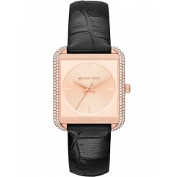 Michael Kors Lake Rose Gold Plated Black Strap Watch MK2611