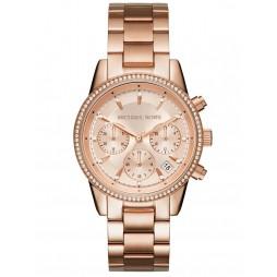 Michael Kors Ladies Ritz Rose Chronograph Dial Rose Gold Plated Bracelet Watch MK6357