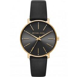 Michael Kors Pyper Gold Plated Black Leather Strap Watch MK2747