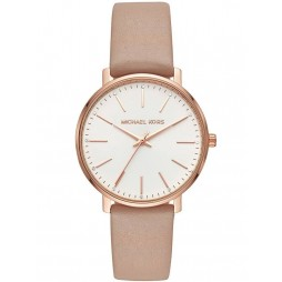 Michael Kors Ladies Pyper Rose Gold Plated White Crystal Set Dial Nude Leather Strap MK2748