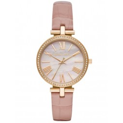 Michael Kors Ladies Maci Rose-Tone Pink Narrow Leather Strap Watch MK2790