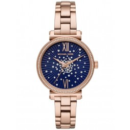 Michael Kors Ladies Sofie Rose-Tone Midnight Blue Constellation Bracelet Watch MK3971