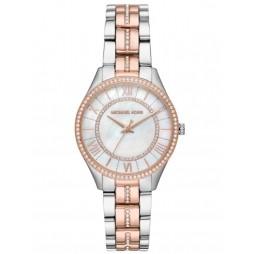 Michael Kors Ladies Mini Lauryn Two Tone Pave Mother of Pearl Bracelet Watch MK3979