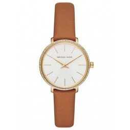 Michael Kors Ladies Pyper Gold Plated White Dial Brown Leather Strap Watch MK2801