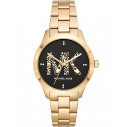 Michael Kors Ladies Runway Gold Plated MK Black Dial Bracelet Watch MK6682