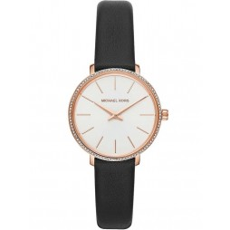 Michael Kors Ladies Pyper Rose Gold Plated White Crystal Bezel Black Leather Strap Watch MK2835