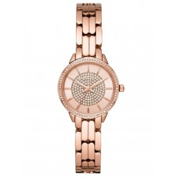 Michael Kors Ladies Allie Crystal Dial Rose Gold Plated Bracelet Watch MK4413