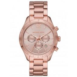 Michael Kors Ladies Layton Rose Chronograph Dial Rose Gold Plated Bracelet Watch MK6796