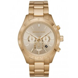Michael Kors Mens Layton Gold Chronograph Dial Gold Plated Bracelet Watch MK8782