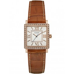 Guess Ladies Highline Brown Leather Strap Watch W0829L4