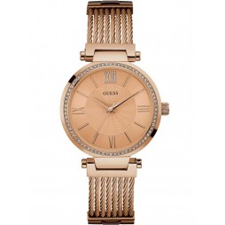 Guess Ladies Soho Rose Gold Plated Bracelet Watch W0638L4