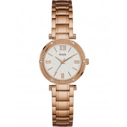 Guess Ladies Park Avenue South Rose Gold Plated Bracelet Watch W0767L3
