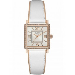 Guess Ladies Rose Gold Plated Square White Leather Strap Watch W0829L11